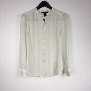 Marc by Marc Jacobs Silk Striped Sheer Button Down